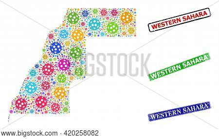 Vector Covid Collage Western Sahara Map, And Grunge Western Sahara Seals. Vector Colored Western Sah