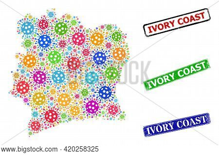Vector Covid Mosaic Ivory Coast Map, And Grunge Ivory Coast Seals. Vector Multi-colored Ivory Coast