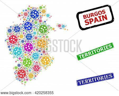 Vector Coronavirus Mosaic Burgos Province Map, And Grunge Territories Seals. Vector Colored Burgos P