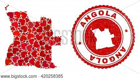 Collage Angola Map Designed With Red Love Hearts, And Grunge Badge. Vector Lovely Round Red Rubber S