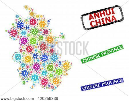 Vector Virulent Collage Anhui Province Map, And Grunge Chinese Province Badges. Vector Colored Anhui
