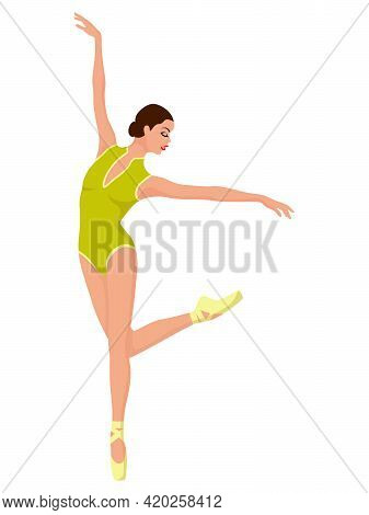 Elegant Ballerina In Soft Green Leotard, Hand Drawing Vector, Isolated On The White Background