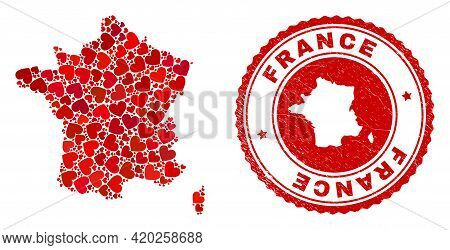 Collage France Map Created With Red Love Hearts, And Rubber Stamp. Vector Lovely Round Red Rubber Se