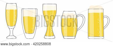 Set Of Beer Glasses Isolated On White. Five Different Shapes Glasses Of Beer With Foam And Bubbles.