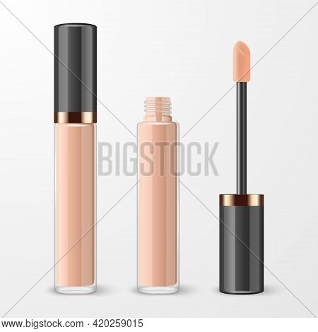 Vector 3d Realistic Closed, Opened Lip Gloss, Foundation, Concealer, Corrector Package, Black Cap Is