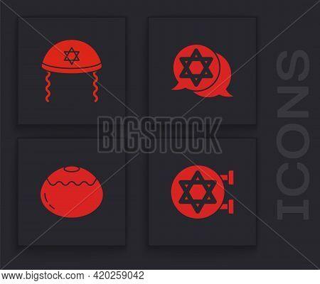 Set Jewish Synagogue, Kippah, Star Of David And Sweet Bakery Icon. Vector