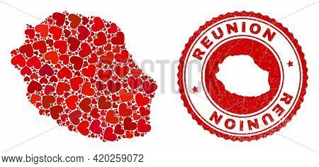 Collage Reunion Island Map Created With Red Love Hearts, And Grunge Stamp. Vector Lovely Round Red R