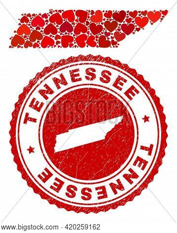 Collage Tennessee State Map Composed With Red Love Hearts, And Unclean Seal. Vector Lovely Round Red