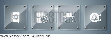Set Jewish Synagogue, Orthodox Jewish Hat, Coin And Torah Book. Square Glass Panels. Vector
