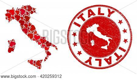 Collage Italy Map Created From Red Love Hearts, And Rubber Seal Stamp. Vector Lovely Round Red Rubbe
