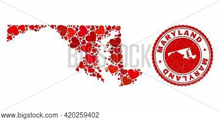 Mosaic Maryland State Map Formed With Red Love Hearts, And Rubber Stamp. Vector Lovely Round Red Rub