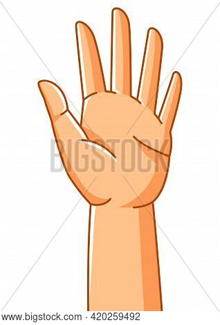 Illustration Of Raised Hand. Sign Of Consent Or Choice.