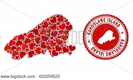 Collage Kahoolawe Island Map Created With Red Love Hearts, And Unclean Stamp. Vector Lovely Round Re