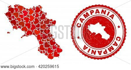 Collage Campania Region Map Designed With Red Love Hearts, And Textured Seal Stamp. Vector Lovely Ro