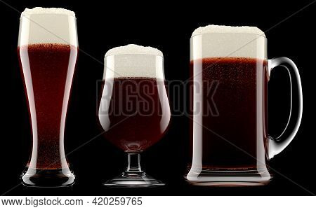 Set Of Fresh Beer In Different Mugs With Bubble Froth Isolated On A Black Background. 3d Rendering C