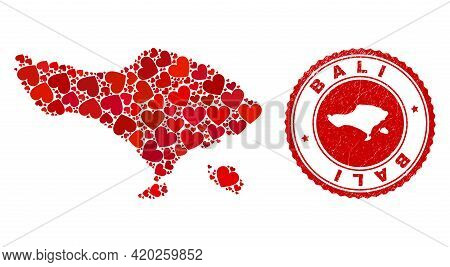 Collage Bali Map Composed From Red Love Hearts, And Rubber Stamp. Vector Lovely Round Red Rubber Sta