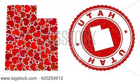 Collage Utah State Map Designed From Red Love Hearts, And Rubber Seal. Vector Lovely Round Red Rubbe