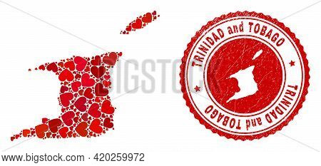 Collage Trinidad And Tobago Map Designed With Red Love Hearts, And Unclean Badge. Vector Lovely Roun