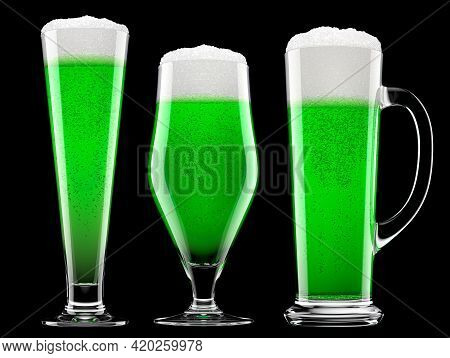 Set Of Fresh Green Beer In Different Mugs With Bubble Froth Isolated On A Black Background. 3d Rende