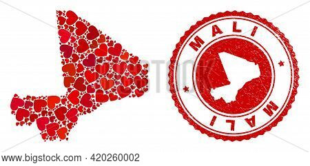 Mosaic Mali Map Designed With Red Love Hearts, And Rubber Stamp. Vector Lovely Round Red Rubber Seal