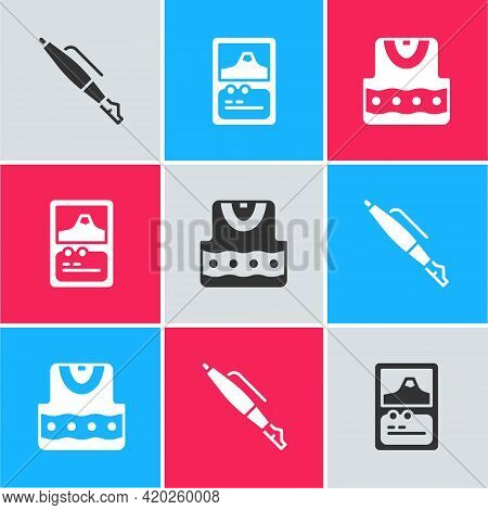 Set Fountain Pen Nib, Card Game And Waistcoat Icon. Vector