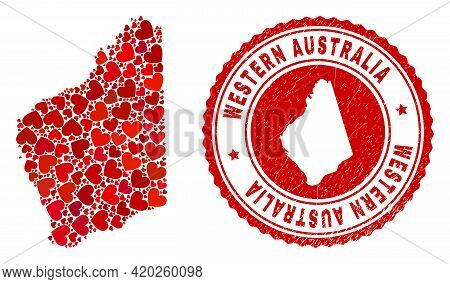 Mosaic Western Australia Map Formed With Red Love Hearts, And Scratched Badge. Vector Lovely Round R