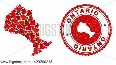 Mosaic Ontario Province Map Designed With Red Love Hearts, And Textured Stamp. Vector Lovely Round R