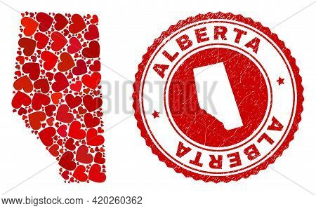 Collage Alberta Province Map Created With Red Love Hearts, And Corroded Seal Stamp. Vector Lovely Ro