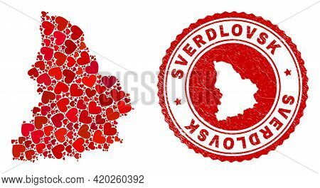 Collage Sverdlovsk Region Map Designed With Red Love Hearts, And Textured Seal. Vector Lovely Round