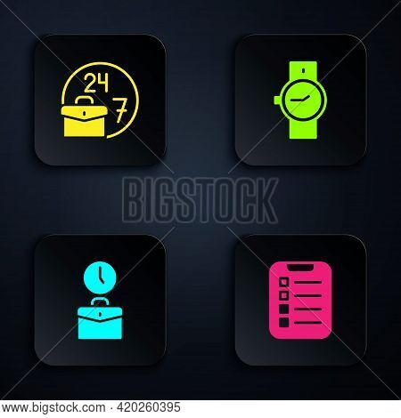 Set To Do List Or Planning, Always Busy, Work Time And Wrist Watch. Black Square Button. Vector