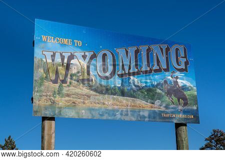 Laramie, Wy - December 5, 2020:  Welcome To Wyoming Sign Along The Colorado And Wyoming State Border