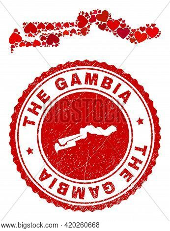 Collage The Gambia Map Composed With Red Love Hearts, And Corroded Stamp. Vector Lovely Round Red Ru
