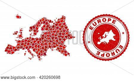 Collage Europe Map Created From Red Love Hearts, And Dirty Seal Stamp. Vector Lovely Round Red Rubbe