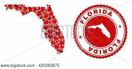 Collage Florida State Map Composed With Red Love Hearts, And Corroded Seal. Vector Lovely Round Red