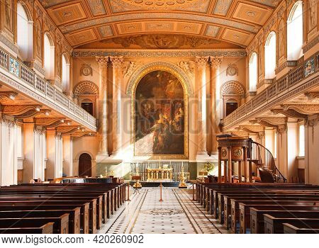 London, Uk - October 03, 2011. Interior Of The Chapel Of St Peter And St Paul At The Old Royal Naval