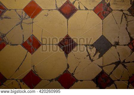 Old Broken Orange Tile. Orange Tiles Floor Background, Orange Tile Architecture Wallpaper And Backgr