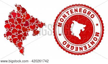 Collage Montenegro Map Formed With Red Love Hearts, And Unclean Stamp. Vector Lovely Round Red Rubbe