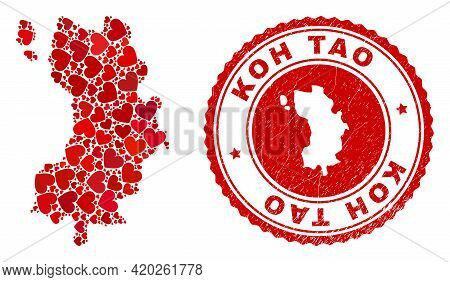 Mosaic Koh Tao Map Formed From Red Love Hearts, And Grunge Seal Stamp. Vector Lovely Round Red Rubbe