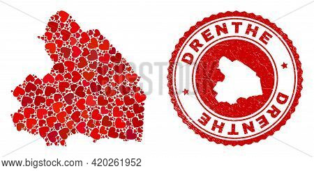 Mosaic Drenthe Province Map Created With Red Love Hearts, And Unclean Seal Stamp. Vector Lovely Roun