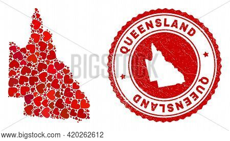 Collage Australian Queensland Map Designed With Red Love Hearts, And Corroded Seal Stamp. Vector Lov