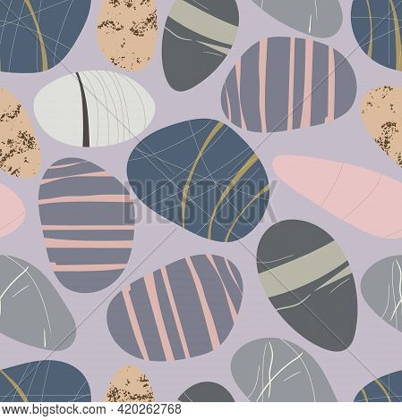 Seamless Pattern With Beach Pebbles. Hand Drawn Various Shapes. Modern Illustration In Vector. Diffe