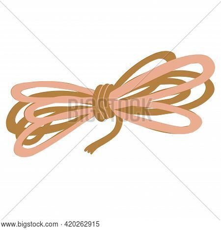 Hand Drawn Flat Vector Illustration Of A Coil Of Rope Isolated On White Background. Camping And Tour
