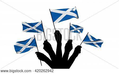 Scotland National Flag Being Waved. 3d Rendering