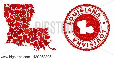 Mosaic Louisiana State Map Composed With Red Love Hearts, And Unclean Seal Stamp. Vector Lovely Roun