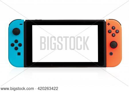 Rostov-on-don, Russia - April 2021.nintendo Switch On A White Background. Handheld Game Console Clos