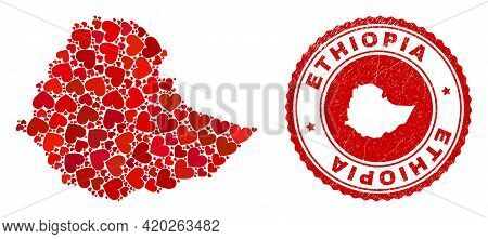 Collage Ethiopia Map Formed With Red Love Hearts, And Rubber Stamp. Vector Lovely Round Red Rubber S