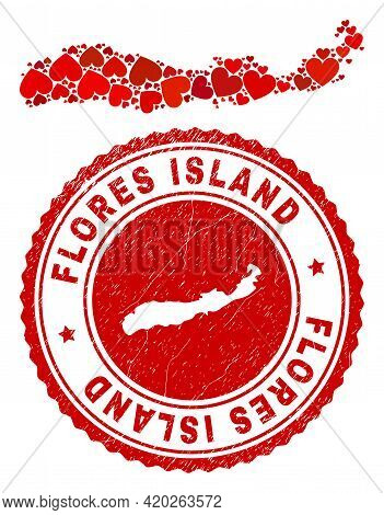 Collage Flores Island Of Indonesia Map Formed With Red Love Hearts, And Dirty Seal Stamp. Vector Lov