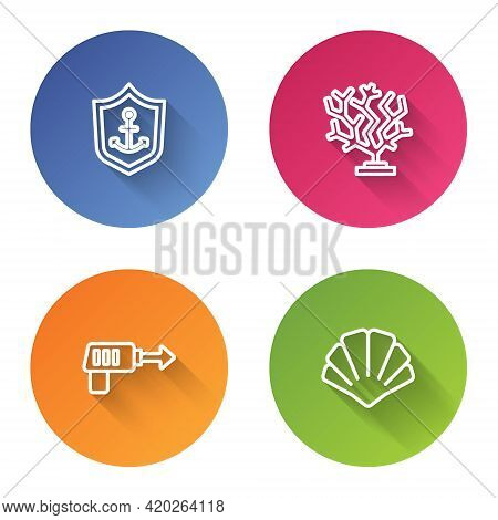 Set Line Anchor Inside Shield, Coral, Fishing Harpoon And Scallop Sea Shell. Color Circle Button. Ve