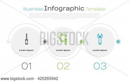 Set Line Screwdriver, Clamp And Screw Tool And Adjustable Wrench. Business Infographic Template. Vec
