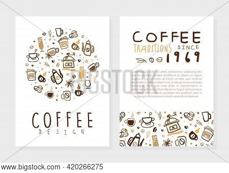 Coffee Traditions Card Design Template With Space For Text, Coffee Shop, Cafe Brochure, Flyer With A